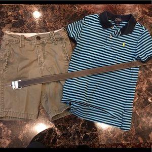 Other - Boys RL short sleeve, Abercrombie shorts, and belt